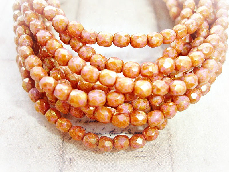 20 Rustic Fiery Peach Faceted Fire Polished Czech Glass Beads 5 mm