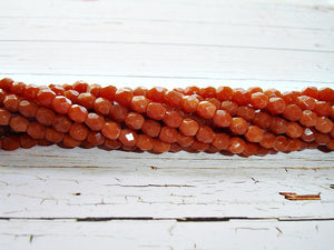 20 Dark Toffee Fire Polished Faceted Czech Glass Beads 4 mm