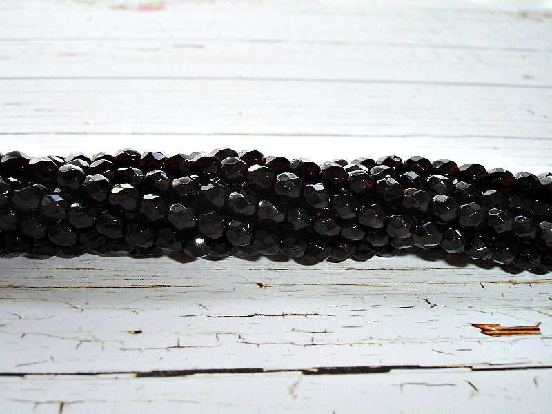 20 Jet Black Fire Polished Faceted Czech Glass Beads 4 mm