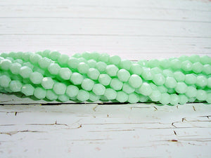 20 Pastel Mint Green Fire Polished Faceted Beads 4 mm