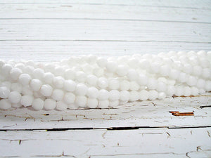 20 Snowy White Fire Polished Faceted Czech Glass Beads 4 mm