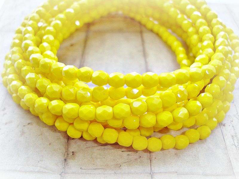 20 Bright Yellow Fire Polished Faceted Czech Glass Beads 5 mm