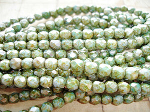 10 Rustic Silvery Green Faceted Fire Polished Czech Glass Beads 6 mm