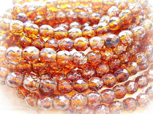 10 Chocolate Brown Czech Glass Speckled Faceted Fire Polished Beads 8 mm