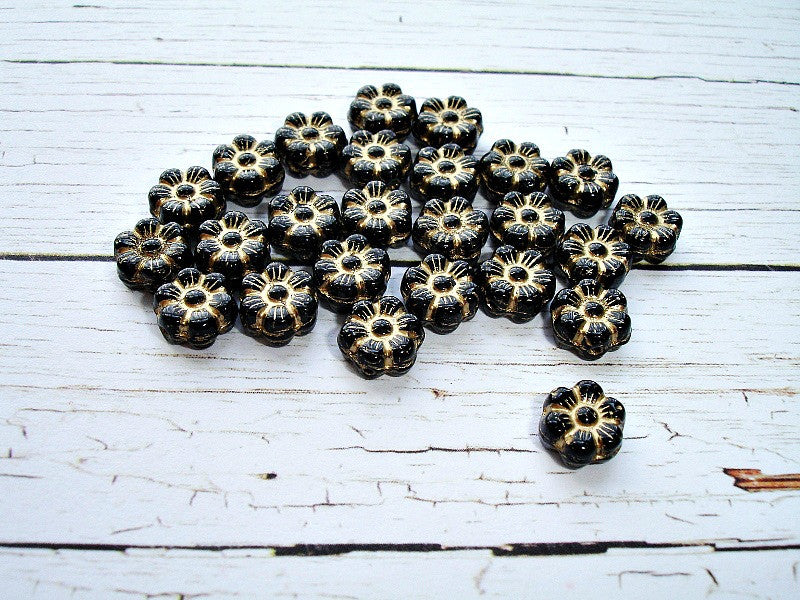 10 Black Czech Glass Pansy Flower Bloom Beads 8 mm