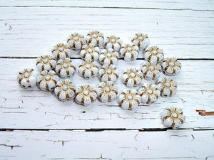 10 Tiny White Czech Glass Pansy Flower Bloom Beads 8 mm