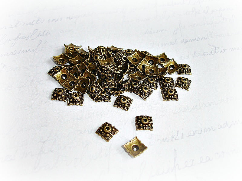 Antique Bronze Square Bead Caps Carved Dot Pattern