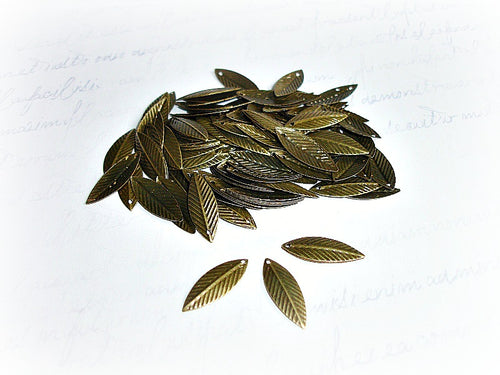 Antique Bronze Leaf Charms Palm Leaves
