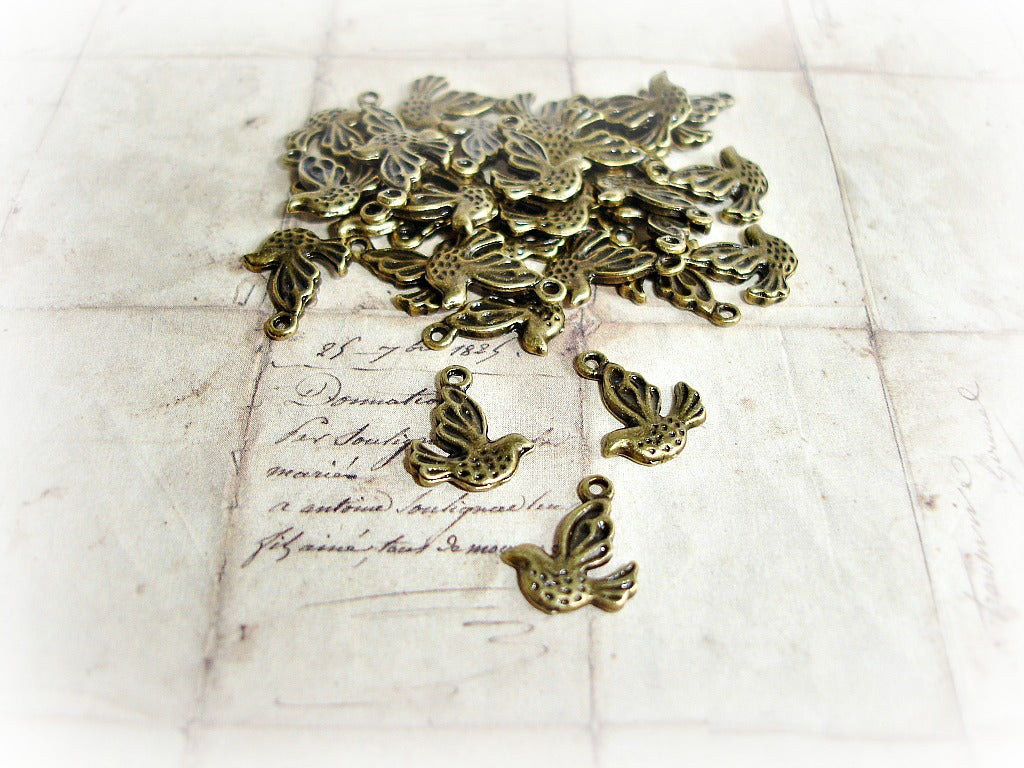Antique Bronze Cute Bird Charms