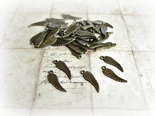 Antique Bronze Angel Wing Charms