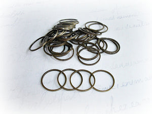 Antique Bronze 16 mm Closed Jump Rings