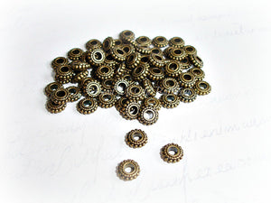 Antique Bronze Spacer Beads Cog Wheel