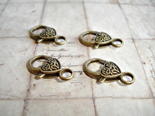 4 Antique Bronze Clasps Large Lobster Heart Pattern