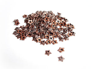 Tiny Antique Copper Star Shape Bead Caps