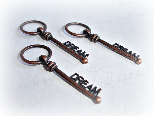 Antique Copper Dream Key Pendants