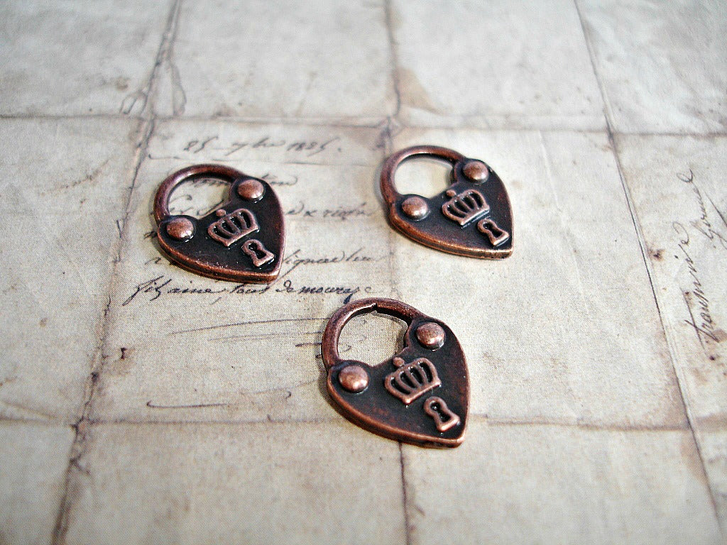 Antique Copper Heart Lock Charms