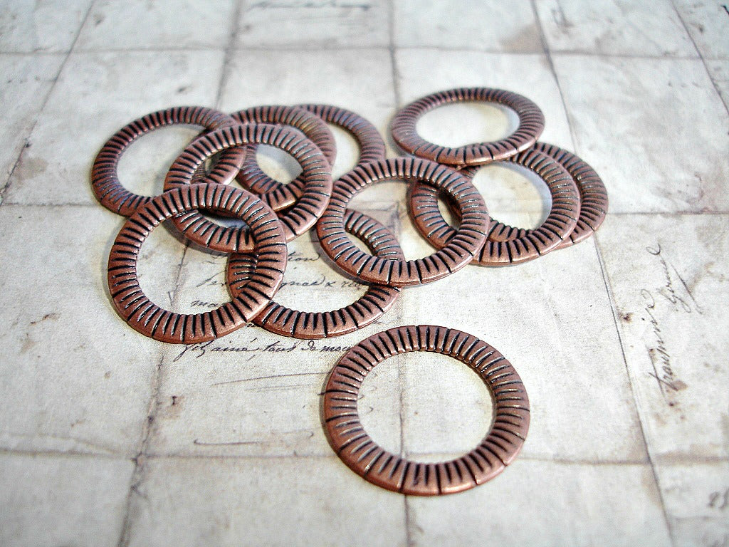 Antique Copper Closed Jump Ring Connectors 23 mm