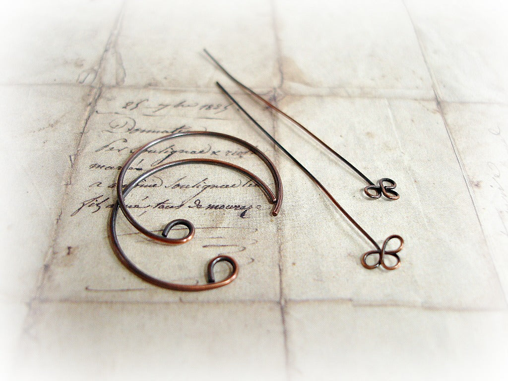 Antique Copper Handcrafted Ear Wires Headpins
