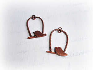 5 Antique Copper Bird Charms Perch Cage Swing Pendant