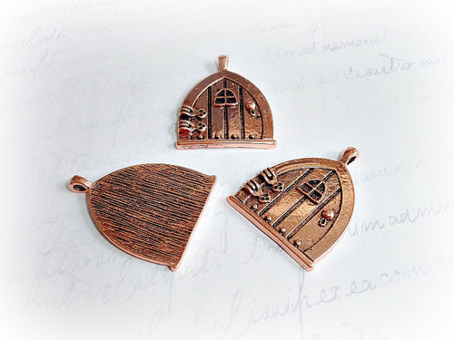 Antique Copper Fairy Door Pendants
