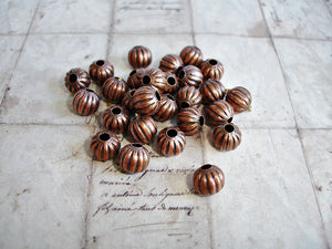 Antique Copper 8 mm Spacer Beads Pumpkin Style