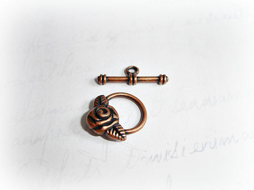 Antique Copper Rose Toggle Clasps