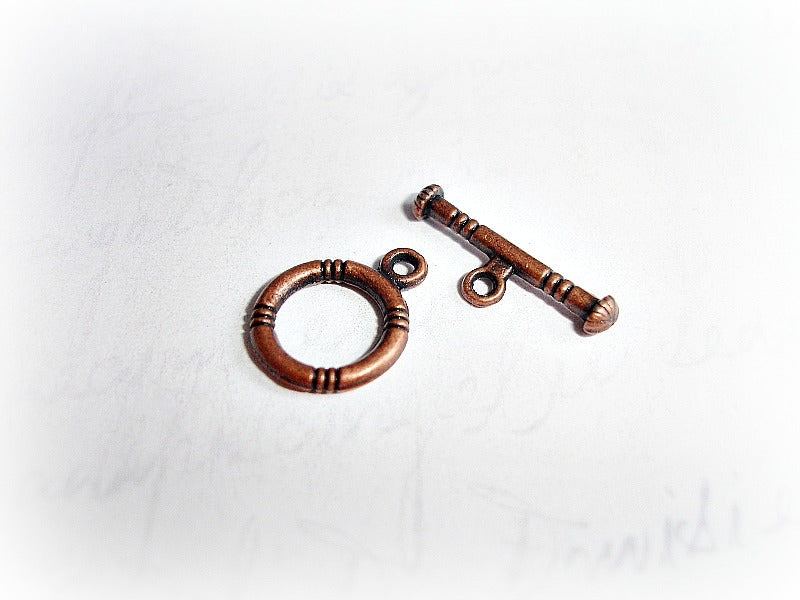 Antique Copper Round Toggle Clasps Lifebuoy Style