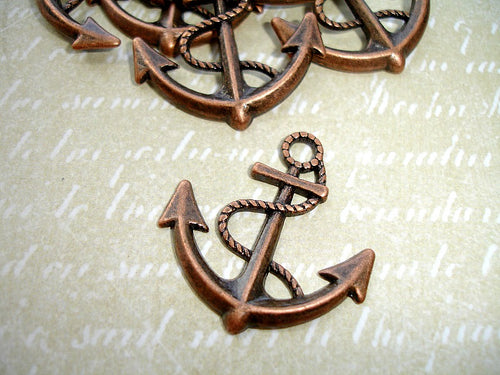 Antique Copper Anchor Charms