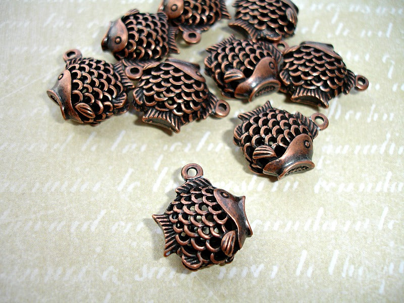 Antique Copper Fish Charms