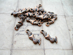Antique Copper Cute Mermaid Charms