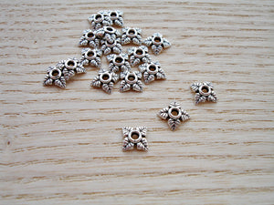 10 Antique Silver Tiny Leaf 4 Petal Bead Caps