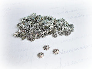 Tibetan Antique Silver Bead Caps 8 Petal Flower