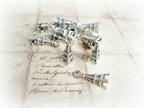 10 Antique Silver Eiffel Tower Charms