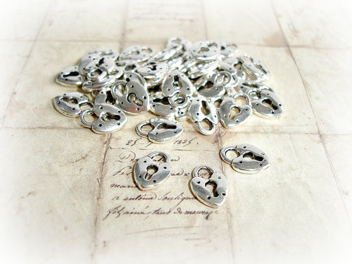 Antique Silver Heart Lock Padlock Charms
