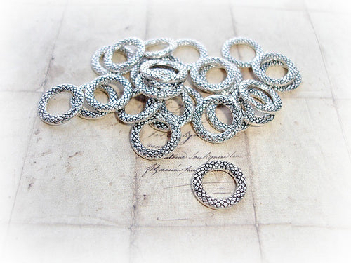 Antique Silver Closed Jump Rings 14 mm Criss Cross Pattern
