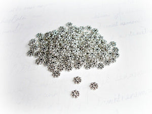 Antique Silver Spacer Beads Daisy Flower