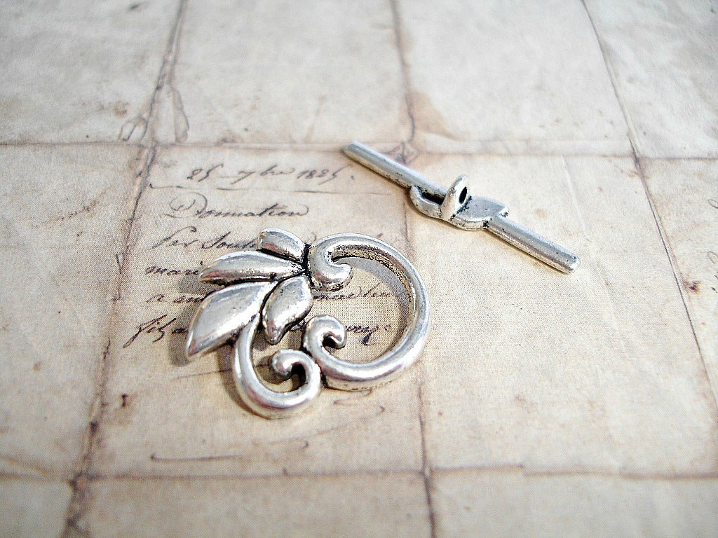 Antique Silver Toggle Clasps Scrolled Leaf