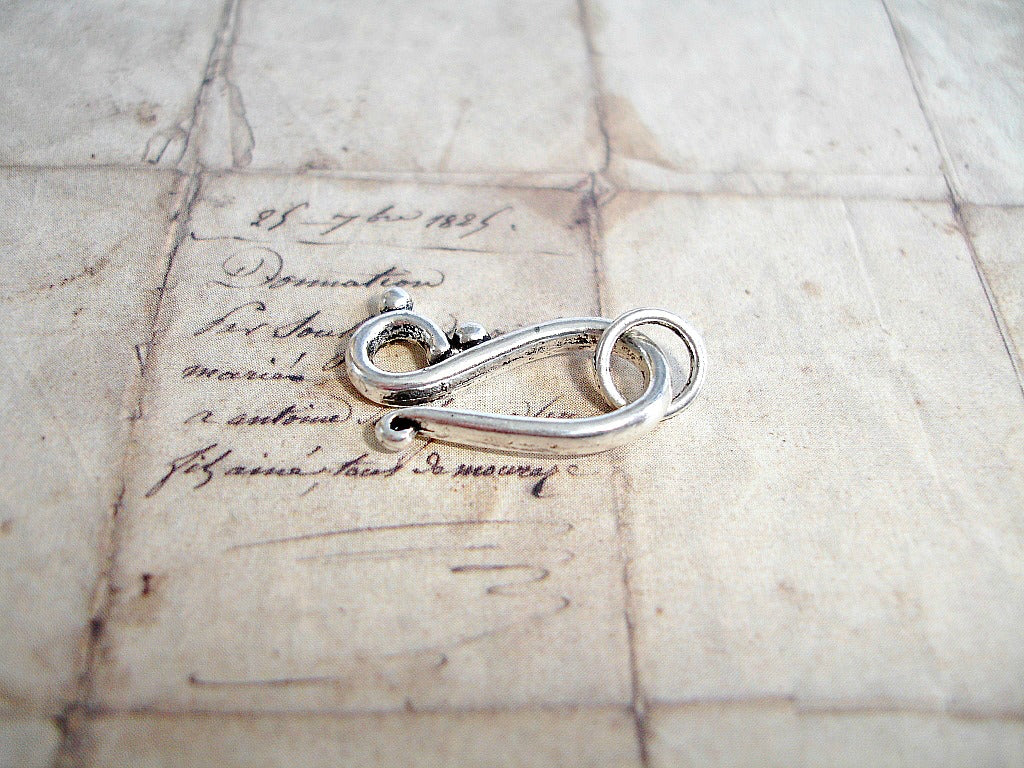 LAST PACKS - 5 Silver Hook Clasps Scroll S Shaped