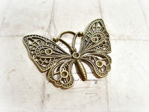 2 Antique Bronze Butterfly Pendants