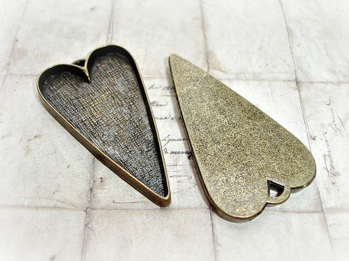 2 Antique Bronze Heart Bezel Large Cabochon Settings