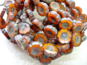 6 Rustic Orange Hawaiian Pansy Flower Bloom Czech Glass Beads 12 mm