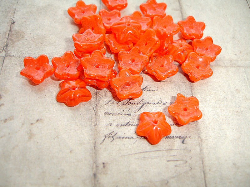 Bright Coral Orange Cupped Flower Czech Glass Beads