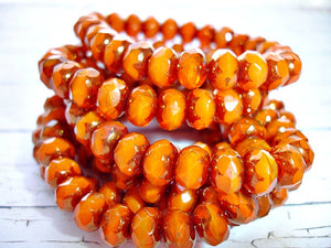 10 Rich Orange Bronzed Rondelle Czech Glass Beads 9 mm x 6 mm