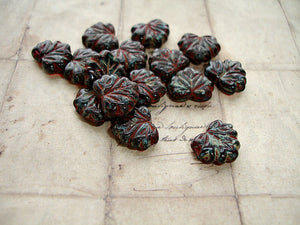 6 Rustic Red Picasso Czech Glass Leaf Beads