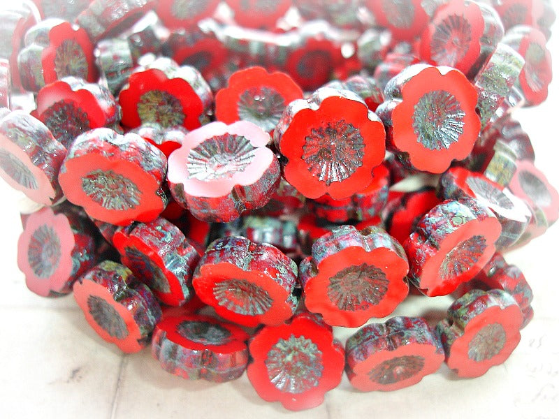 6 Valentine Red Hawaiian Pansy Flower Bloom Czech Glass Beads 14 mm