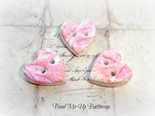Coloured Pencils Collection - 1 Pink & Peach Tiny Heart Faux Ceramic Polymer Clay Button