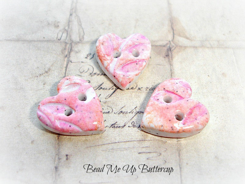 Coloured Pencils Collection - Handmade Heart Buttons Beads 1 Pink & Peach Tiny Heart Faux Ceramic Polymer Clay Button Artisan Buttons Clay Buttons