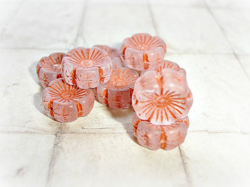 6 Copper Hawaiian Pansy Flower Bloom Czech Glass Beads 14 mm