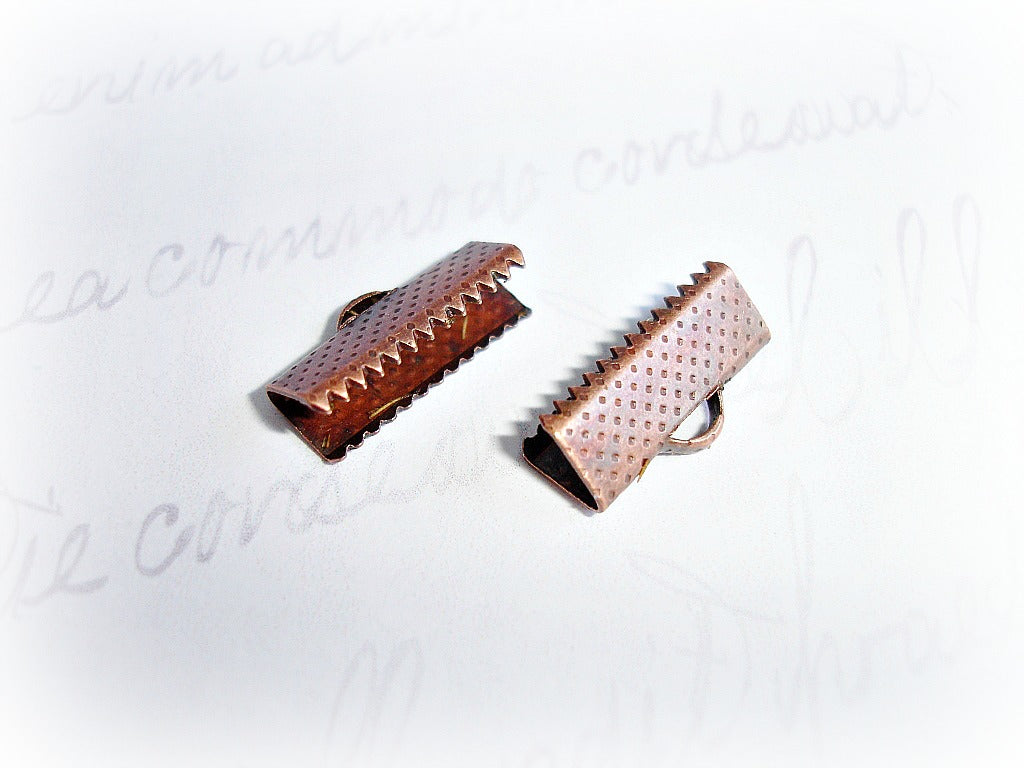 Antique Copper Crimp Beads Ribbon Cord Ends 16 mm