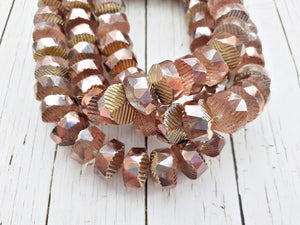6 Copper & Gold Large Doughnut Faceted Czech Glass Beads Pony Beads 12 mm